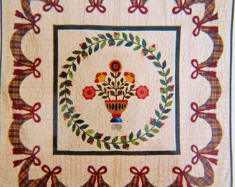 Plaid Album Applique Quilt Pattern, Vase of Flowers, Swag Border, Village Classics, 50 inch Wall Quilt or Throw, New Unused heirloom pattern