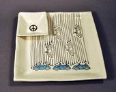 Large Handmade Ceramic Plate with Dipping Bowl, Raining Bugs Platter