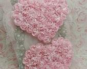 ON SALE Pink Rosette Chiffon Hearts / 2 BEAUTIFUL Large Shabby Chic Chiffon Heart Applique / LiGht Pink 4.5 inch.