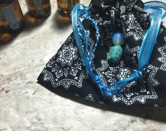 Hippy/Festival/Crystal/Yogi/420/Boho Crystal, Oil, Sage, Palo Santo, Ganga, 420 bag, sack, pouch in black mandala with moonstone and Buddha