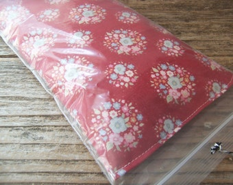 Relaxing eye pillow filled with  flaxseeds and  a hint of lavender -  red tilda fabric with small flowers   - Ready for gift giving-Namaste