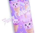 Pastel Kitty Cone Kawaii iPhone 5/5s iPhone 6/6s clear plastic phone case magical pink purple lavender cute space cat