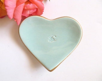 Ring dish, Jewelry holder, Monogram Heart, Gold edge, Custom initial tray, You Pick Color,  Made to Order