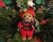 Vintage Christmas Teddy Bear Ornament - hard body, brown felted face, paws & feet, Red and Green crochet hat and sweater, holly trim