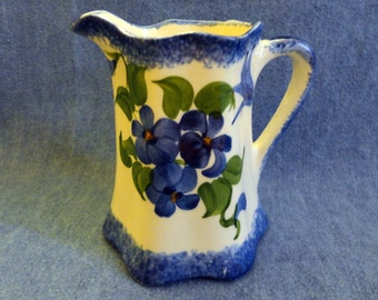 "VINTAGE ""Cash Family"" Cream Pitcher, 1945, creamy/white, blue sponge borders & cluster of flowers, ""Hand Painted - USA"", Erwin, Tenn."