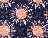 Navy Blue Sunflower Fabric - Grand Canal from Kate Spain by Moda 1 Yard