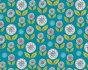 Teal Floral Folkart Fabric - Dutch Treat by Betz White from Riley Blake - 1/2 Yard