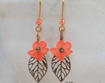 Lucite Flower Earrings, Brass Leaf Earrings  Lucite and Pearl Dangle Earrings,  Pierced or Clip-on Earrings. OOAK Handmade Earrings.