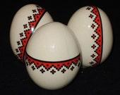 Porcelain Ukrainian Pysanky Style Eggs Folk Art - Collection of 3
