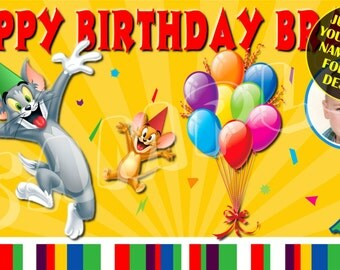 Tom & Jerry, Tom and Jerry, Tom, Jerry, Cartoon, Cat, Mouse, Cat and Mouse Personalized Custom Birthday Banner Party Decoration with photo