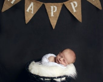 Happy Burlap Banner, Newborn Photo Prop Banner