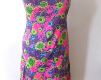 l SALE l Plus Size Vintage 1970's Psychedelic Floral Maxi Dress Size XL