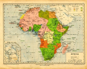 1905 Vintage Map of Africa Political Division Colonies Colorful Old Map, Lithograph