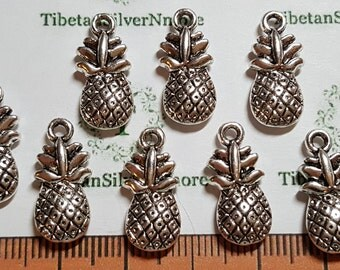 12 pcs per pack of 18x17mm 3D solid Reversible Pineapple Fruits charm Antique Silver Lead Free Pewter