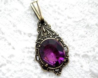 Beautiful Little Amethyst Glass Jewel Pendant in Antiqued Brass