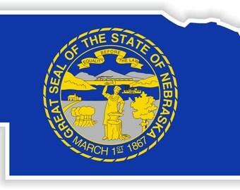 Nebraska Map Flag Silhouette Sticker for Laptop Book Fridge Guitar Motorcycle Helmet ToolBox Door PC Boat