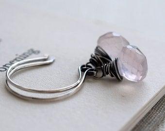 Rose Quartz Earrings, Oxidized Earrings, Sterling Earrings, Light Pink Gemstone Earrings, Soft Pink Earrings, Spring Earrings, Wire Wrapped