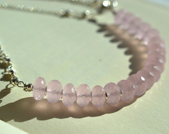 Pink Gemstone Necklace, Pink Chalcedony Necklace, Pink Bar Necklace, Pink and Silver Necklace, Blush Pink Necklace, Light Pink Necklace