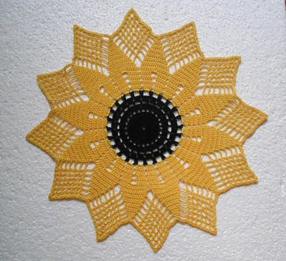 Sunflower doily.Yellow doily.crochet doily. 13.5 inches