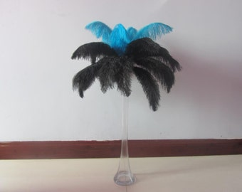 100pcs Turquoise & Black Ostrich Feather Plume for Wedding centerpieces,