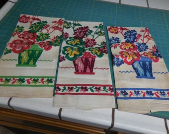 Three Vintage New Old Stock STARTEX Linen and Cotton Kitchen Dish Towels with Colorful Potted FLOWERS - 3 Vintage NOS Startex Dishtowels