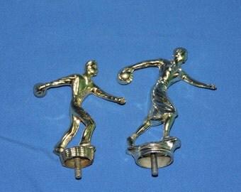 Vintage 1960s Bowling Trophy Toppers Man Woman League Gold Tone Cast Metal Bowl