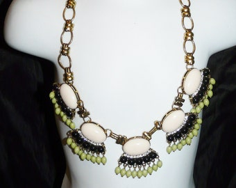 Gold White Black Green Rhinestone Chunky Beaded Necklace Vintage Costume Jewelry Choker Hippie Disco
