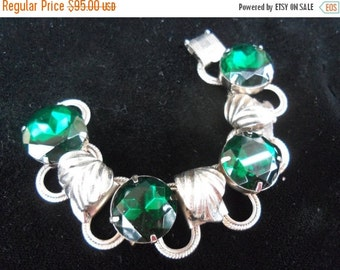 Christmas In July Sale 1940's Vintage Bracelet Big Bold Beautiful Green Headlight Rhinestones 1950's Rockabilly Mad Men Mod Accessories Holl