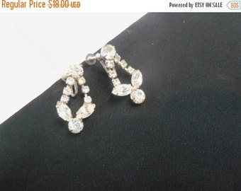 NOW ON SALE Vintage Rhinestone Earrings 1950's Retro Collectible Black Tie Formal Jewelry Mad Men Mod