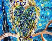Mosaic owl, owl painting, glass art, van gogh, starry night, starry night owl,home decor, wall art, gift, barn owl, night sky, stars, moon