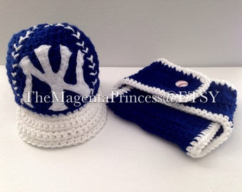 Baby Yankees Hat and Diaper cover, Baby boy hat, Baby Girl hat, Yankees Baseball Hat, New York Yankees Baby Hat, New