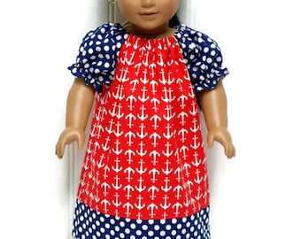 18 Inch Doll Peasant Dress Nautical Red Anchors Navy Polka Dot 15 inch Doll Clothes