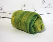 Wooly Batts hand dyed art batts for spinnning, Lemon Lime hand carded, needle felting fiber supplies, spin your own Curly Furr batt