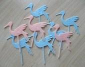 Vintage Stork Cupcake Picks 50s Baby Shower Pink & Blue Boy Girl Midcentury Infant Cake Decoration Decor