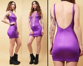 80s Vtg Killer! Purple Lace Up CORSET Deep V SPANDEX Micro Mini Body Con Dress / Wet Look Kelly Bundy Punk Glam Groupie / Xs Sm