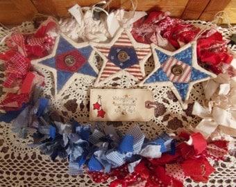 Primitive Country Raggedy Tattered Patriotic Americana Rag Swag GARLAND with STARS Skirting Wrap Drape (RWB-04)