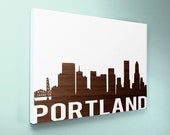 Wood Sign 12x18 Portland Skyline no vinyl