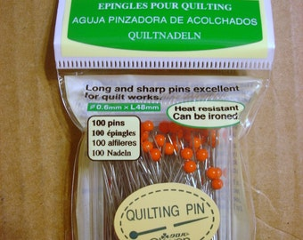 100 QUILTING STRAIGHT PINS ~0.6 mm~Glass  head~2 in long~48mm~Clover~2508