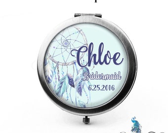 Personalized Dreamcatcher Compact Mirror Bridesmaid Gifts Cosmetic Mirror Custom Favors