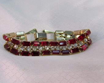 Vintage Ruby Red and Clear Crystal Rhinestone Bracelet
