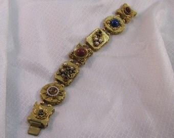 Vintage ART Signature  Jeweled Panel Bracelet, C1950's