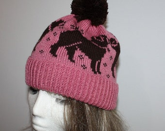 Dusty pink with dark brown Pug dogs pompom bobble beanie hat