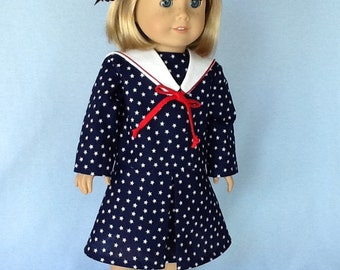 18 inch doll dress and hair clip.. Fits American Girl Dolls.  Nautical style dress .
