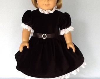 18 inch doll  party dress. Fits American Girl Dolls.  Black velvet party dress.