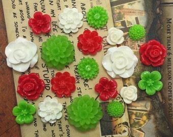 20pcs - Resin Flower Cabochons - Christmas Mix