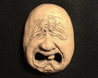 Cry Baby Ceramic Face Wall Sculpture