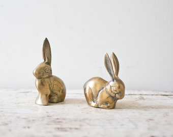 Lot of Two Vintage Brass Bunnies Brass Rabbits Vintage Gold Vintage Bunny Gold