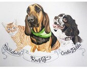 Custom Watercolor Pet Portrait - Gifts for Pet Lovers, Pet Portrait, Dog Portrait, Cat Portrait, Pet Painting