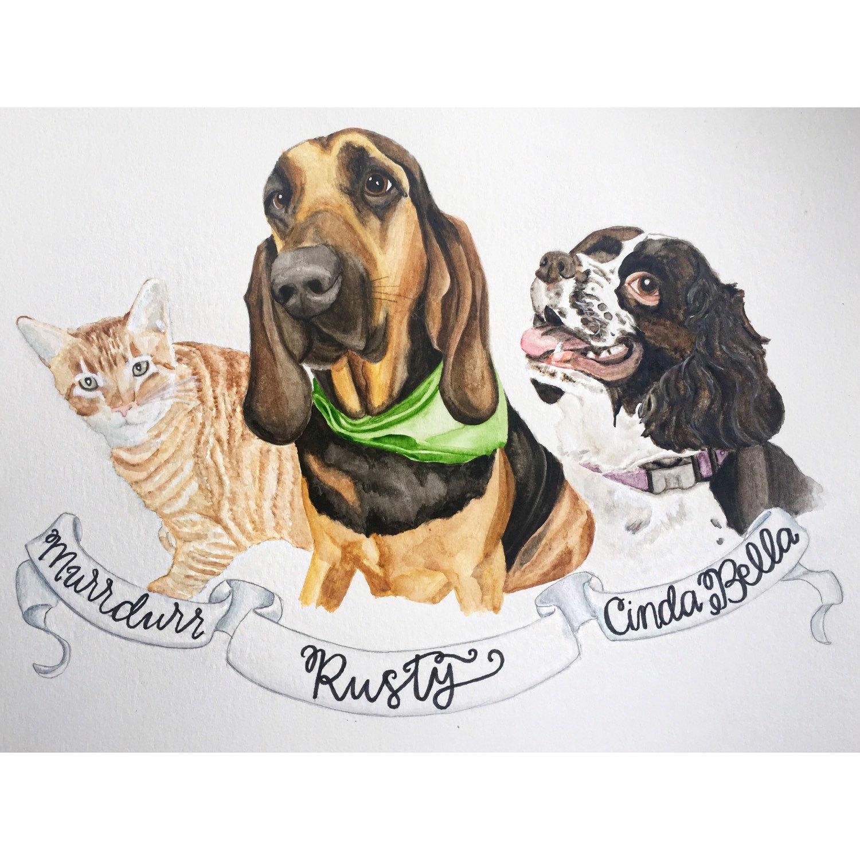 Custom Watercolor Pet Portrait Gifts For Pet Lovers Pet