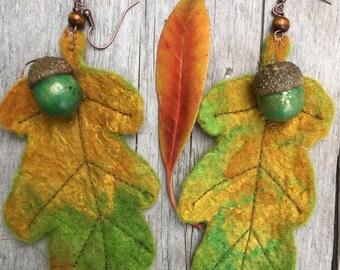 Autumn Leaf earrings- Oak Leaf earrings-unique earrings-statement earrings-Leaf Earrings - mermaid  Accessory- leaf earrings